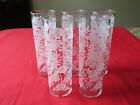 (5) VTG 1950s LIBBEY LRS6 WHITE ROSE ICED TEA TOM COLLINS GLASS TUMBLERS 7