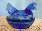 VINTAGE ROYAL BLUE GLASS NESTING HEN CHICKEN 4 1/4