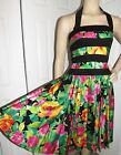 Vintage Designer Lillie Rubin Floral Halter Summer Full Skirt Party Dress Sz 4