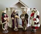 NEAR MINT Victorian Christmas Carolers Dolls 17 Set of 4 With Wood House RARE