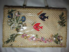 vintage woven coated straw marine sea world fish Mermaid tiki large box bag
