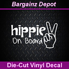 Vinyl Decal HIPPIE ON BOARD Cool Peace Sign Hand Car Laptop Decal Sticker 6