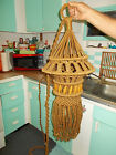 Vintage 70s Retro Boho Hippie Macrame Jute Cord Electric Hanging Swag Light