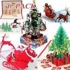 12 Christmas Cards 6 3D Pop Up + 6 Greeting Funny Unique Holiday Postcards Gift