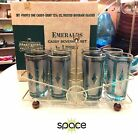 SET OF 8 VINTAGE LIBBEY GREEN EMERALDS DRINKING GLASSES W/ RACK MINT IN BOX MIB