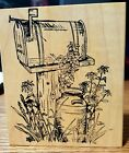 New wood mounted rubber stamp Mail box Old milk can flowers Northwoods Co