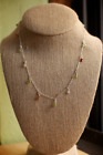 Sterling Silver Handmade Red Agate Star Peridot Round Chain Station Necklace 17