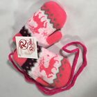 Adorable Pink Baby Girl Mittens Reindeer Winter Theme SHIPS FREE