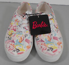 Womens Barbie Size 6 Print Canvas Sneakers Pink White pastel multicolor black