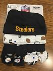 Pittsburgh Steelers NFL 4 Piece Gift Set 2 Baby Caps  2 Pair Booties 0 6 Month
