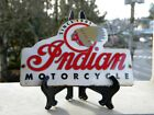 NDIAN MOTORCYCLE OLD PORCELAIN SIGN 5 3 4x 3 3 4 ROADMASTER CHIEF SCOUT OIL