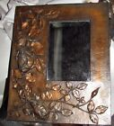 antique art nouveau french copper picture frame roses  foliage in relief mirror