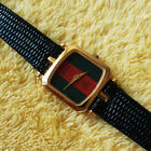 Gucci 18KGP Stack Square Women's Watch with Red and Green Dial - 20 mm