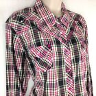 Ariat Western Shirt Womens 2XL Fitted Embroidered Pink Gray Green Plaid Bling