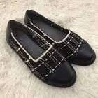 Taryn Rose Womens 9 Flats Black and White Woven Slip On Casual Shoes