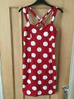 Ladies Vintage Moschino Jeans 90s Red White Polka Dot Cross Strap Dress Size 8
