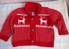 Old Navy boys red and white cotton reindeer cardigan sweater size 6 12 months