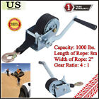 1000lbs Dual Gear Steel Cable Hand Winch Hand Crank ATV Trailer Boat Heavy Duty