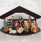 Vintage Lot 10 pc Porcelain Nativity Set Figurines W Wooden Stable Manger Scene