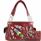 Justin West Native Colorful Embroidery Feather Arrow Conceal Carry Handbag Purse