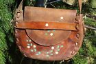 SWEET VINTAGE PAINTED TOOLED FLOWERS LEATHER HIPPIE BAG