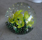 Vintage Joe St Clair Glass Paperweight Bubbles and 5 Yellow Flowers 3 1 2 Look