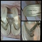 Cabrizi womens gold size 7.5 strappy thong sandals slides shoes 2.5