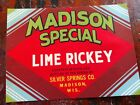 Vintage soda pop bottle label MADISON SPECIAL LIME RICKEY Madison Wisconsin DECO