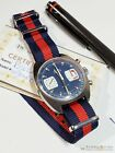 Vintage BWC Military Swiss Chronograph Watch Valjoux 7733 Blue Panda 1960s/1970s