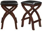 Bar Stool Seat Cushioned Espresso Faux Brown Leather Wood Seats 24 in Counter