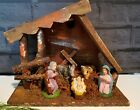 Vintage Christmas NATIVITY scene Creche with figures WOOD STABLE Made in Italy