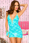 Music legs rose print turquoise halter lace dress