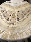 ANTIQUE SILK VICTORIAN EDWARDIAN SHAWL CAPE PIANO EMBROIDERED CANTON MANTON