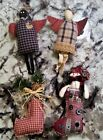 Stocking Christmas Ornaments Handmade Homespun Lot 4