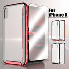 For Apple iPhone X Clear Shockproof Hard Tempered Glass Hybrid Hard Case Cover