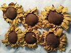 Primitive  Bowl Fillers Handmade Ornies/Yellow Sunflowers/Grunged