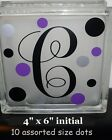 6 Monogram Initial  Dots Decal Sticker for 8 Glass Block Birthday Christmas