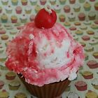 Cherry ice cream Cupcake Candle Soy Wax Dessert candles that looks Yummy
