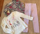 Gymboree Girls 3 Pc Set Leggings and 2 Matching Tops Size 6 EUC