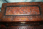 Antique Chinese Camphor Wood Hand Carved  Dragon Chest Box