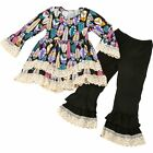 Girls Boutique Lace and Feather Outfit with Long Sleeves and Matching Leggings