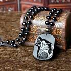 Chinese Natural obsidian stone wolf totem good luck pendant necklace