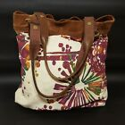 Lucky Brand bohemian slouch bucket tote bag floral canvas leather suede purse