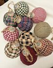 Primitive Wrapped Balls/Ornaments/Christmas /Plaid Homespun Fabric Wrapped/10