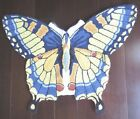 VTG AREA BUTTERFLY SHAPE HOOKED RUG~UNUSED NEW~BLUE YELLOW~monarch