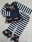Little Girls Navy Floral Striped Ruffle Boutique Set Outfit NWT Sibling Set