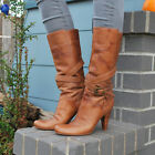 Womens Brown Leather BCBG Girl High Heel Boots Size 8 Ankle Wrap Buckle