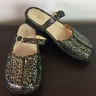 Alegria Tuscany Size 37 Black Leopard Leather Mary Jane Mule Clogs Slip On Shoes