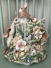 Fitz & Floyd WOODLAND SPRING Centerpiece Cookie Jar Deer Rabbits Limited Edition