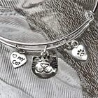 CAT SMILEY FACE  I  MY CAT  PAW SILVER BANGLE MADE FOR LITTLE GIRL CAT LOVER